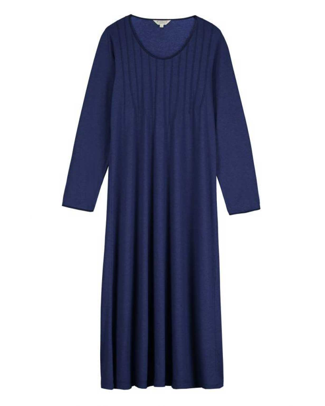 Women's French Pleat Midnight Long Sleeve Nightdress | Bonsoir of London