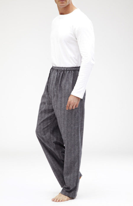 Brushed Cotton Pyjama Trousers (jm54) - Grey Herringbone | Bonsoir of London