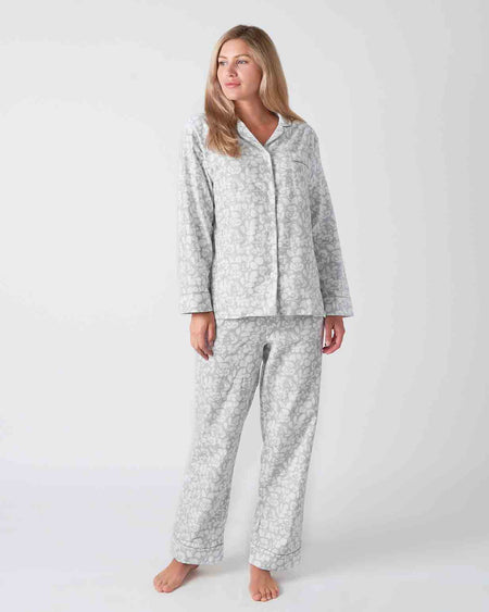 Women's Brushed Cotton Grey Floral Pyjamas | Bonsoir of London