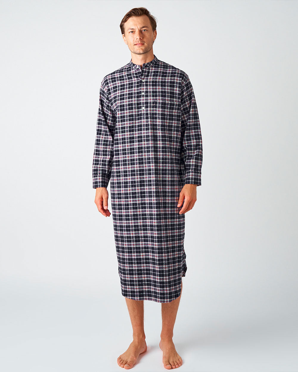 Men's Brushed Cotton Grandad Collar Nightshirt - Hartley