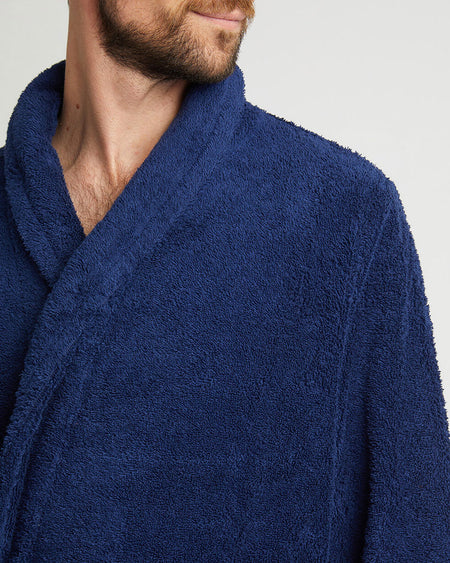 Unisex Cotton Towelling Robe - Midnight
