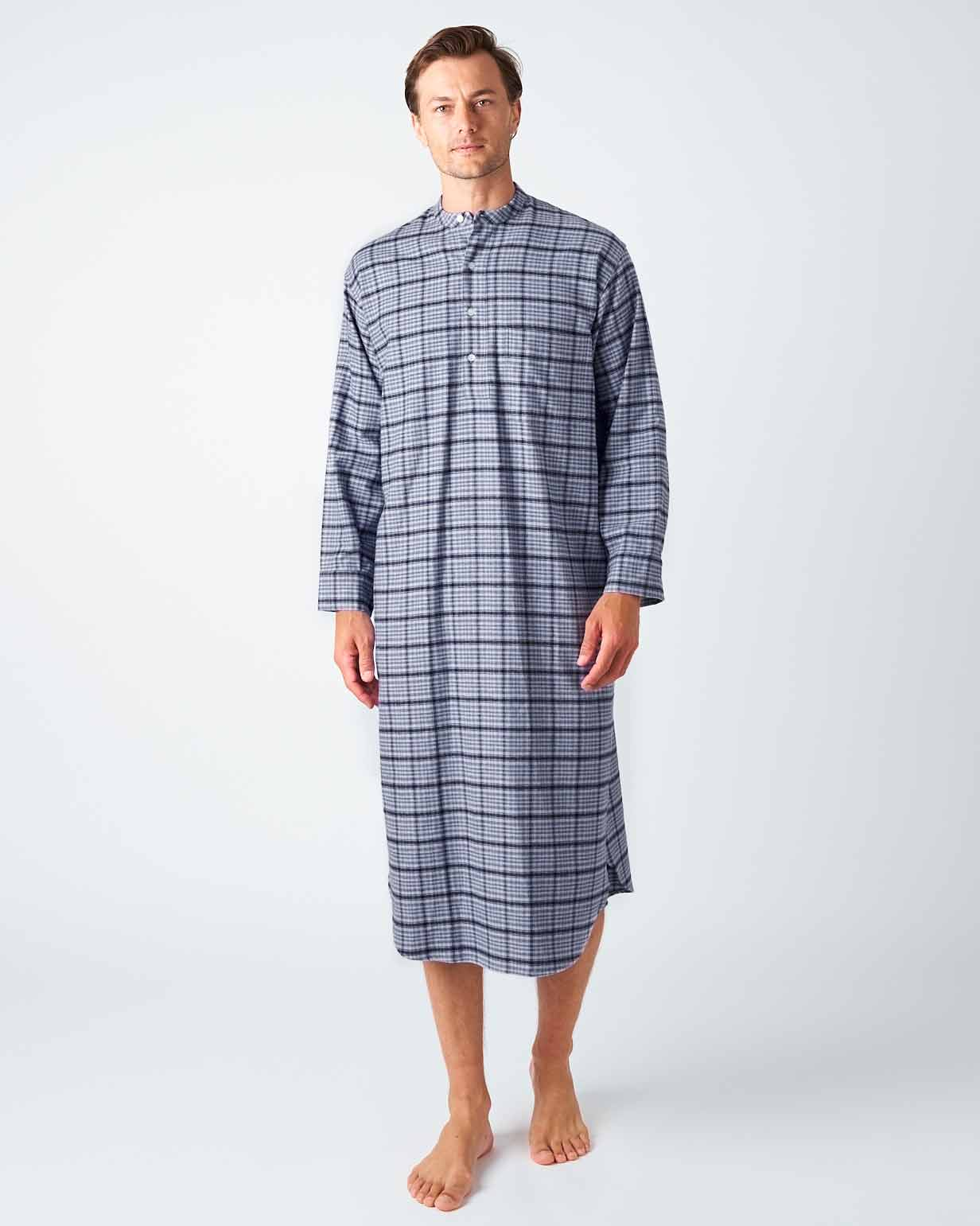 Men's Penrith Brushed Cotton Grandad Collar Nightshirt | Bonsoir of London
