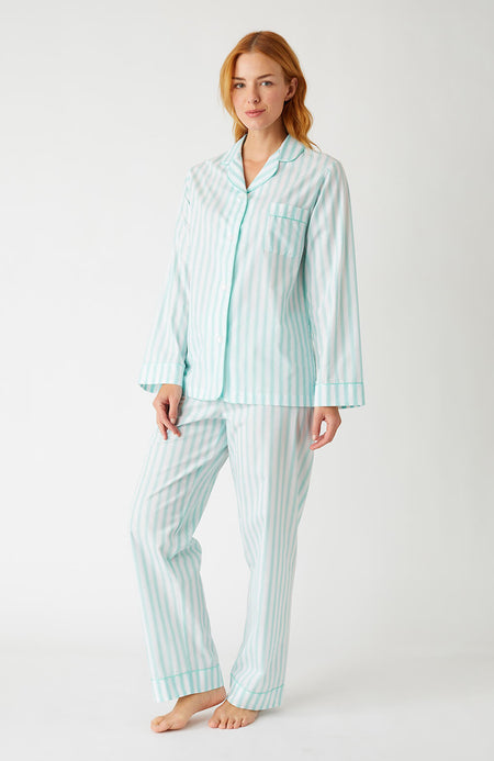 Classic Cotton Pyjamas (Clfp) - Aqua Stripe