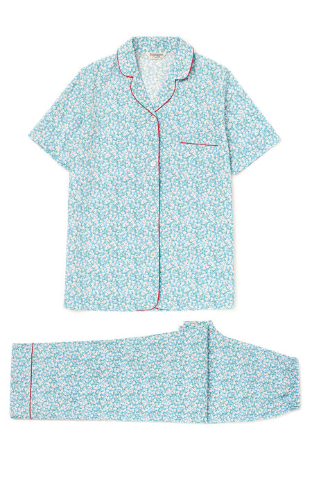Classic Cotton Short Sleeve Pyjamas (Clph) - Blue Floral