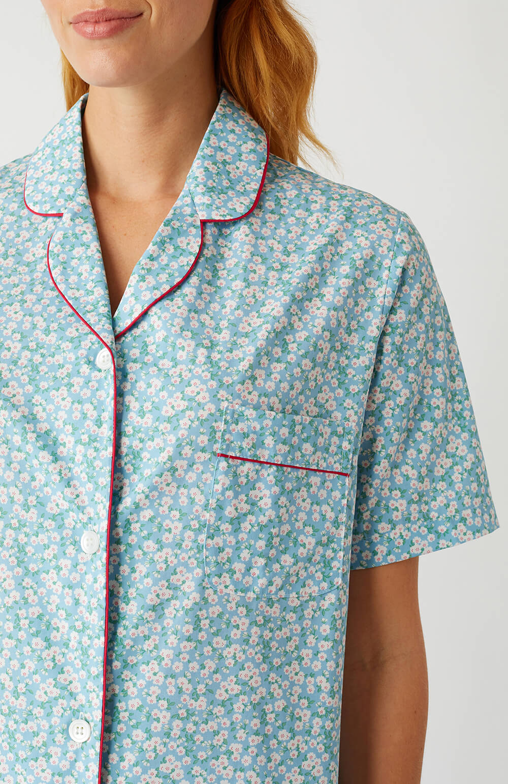 Classic Cotton Short Sleeve Pyjamas (Clph) - Pale Blue Floral