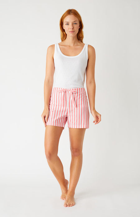 Classic Cotton Pyjama Shorts (Clfs) - Red Stripe