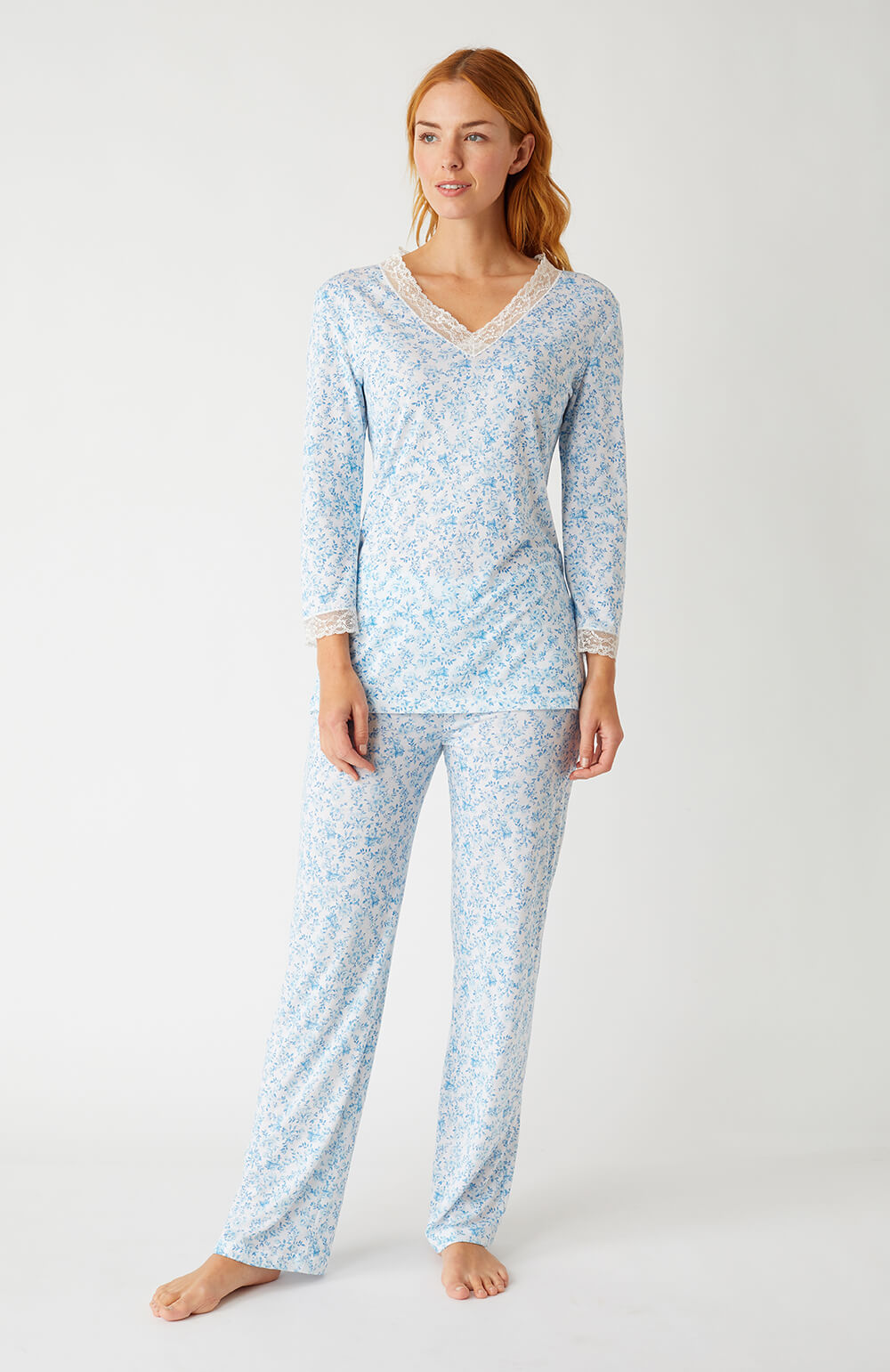 Ella Blue Floral Pyjamas | Bonsoir of London