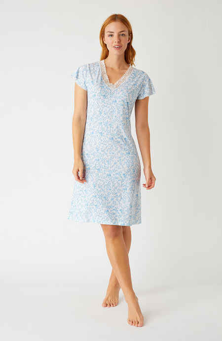 Ella Blue Floral Short Nightdress | Bonsoir of London