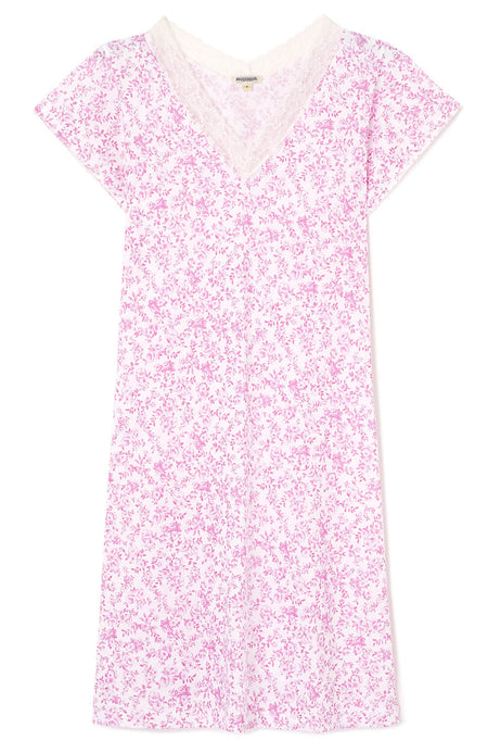 Ella Short Nightdress (Ells) - Pink Floral