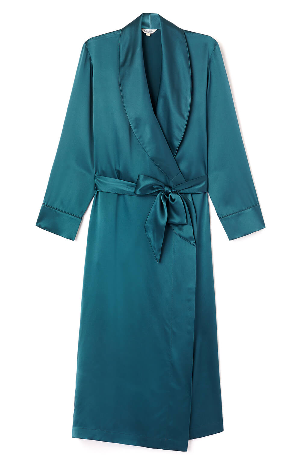 Silk Gown Teal Bonsoir of London Luxury Handcrafted Nightwear (3b14)