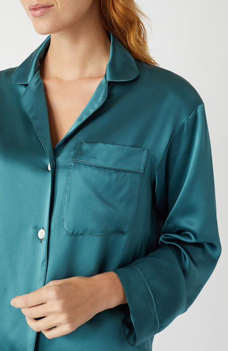 Luxury Silk Teal Pyjamas | Bonsoir of London