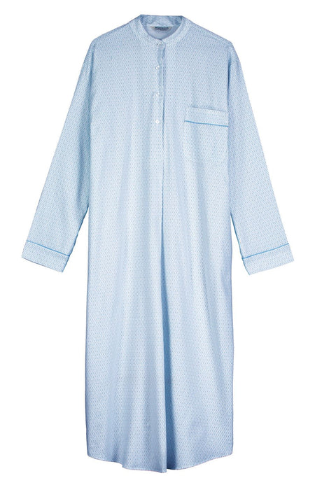 Lightly Brushed Grandad Nightshirt (hllg) - Blue Snowflake