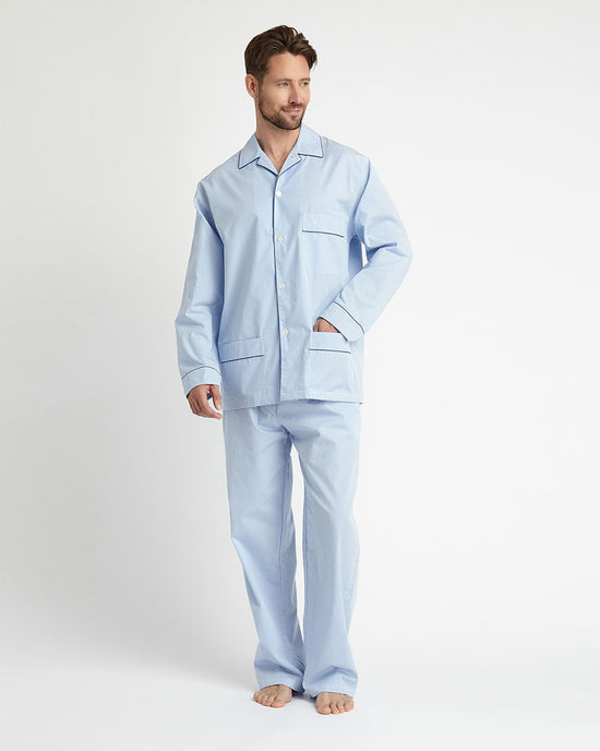 Men's Classic Cotton Short Pyjamas - Sky Gingham