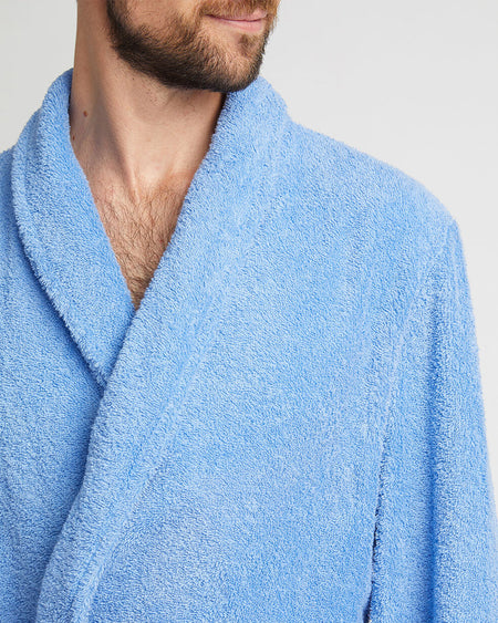 Unisex Cotton Towelling Robe - Sky