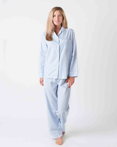Women's Classic Cotton Pyjamas - Blue Twill