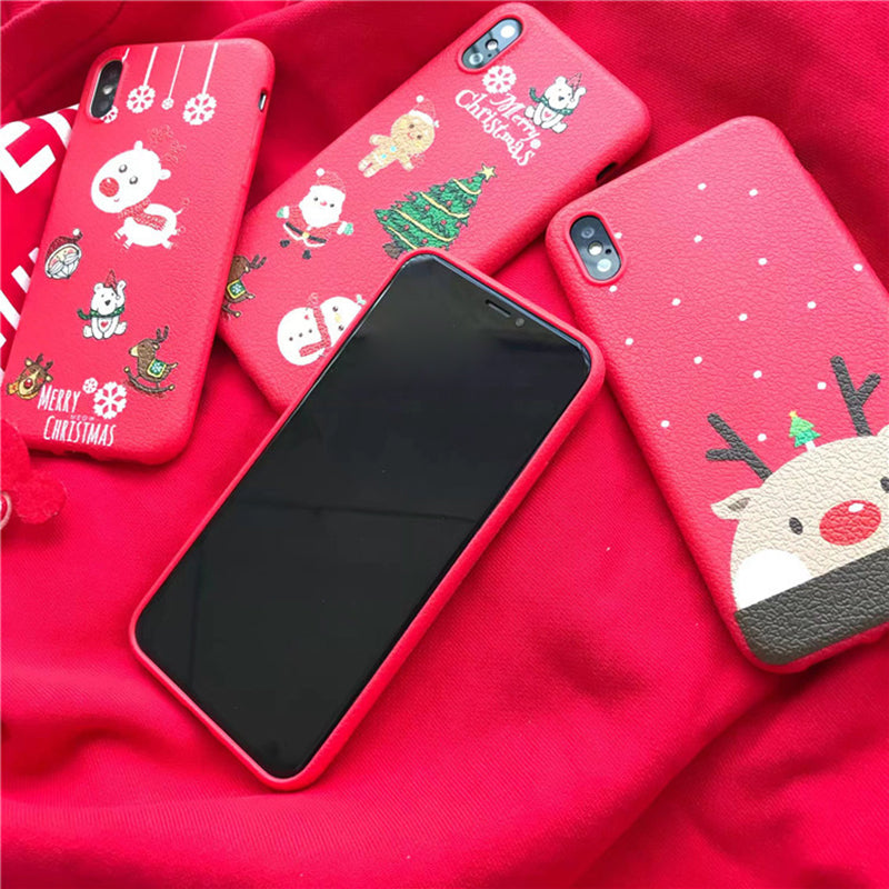 b235469a68 Christmas Case for iPhone 7 7 Plus Litchi Leather Soft TPU Cute Girly Phone  Cases for iPhone X for iPhone 6 6S 8 Plus Cover Gift