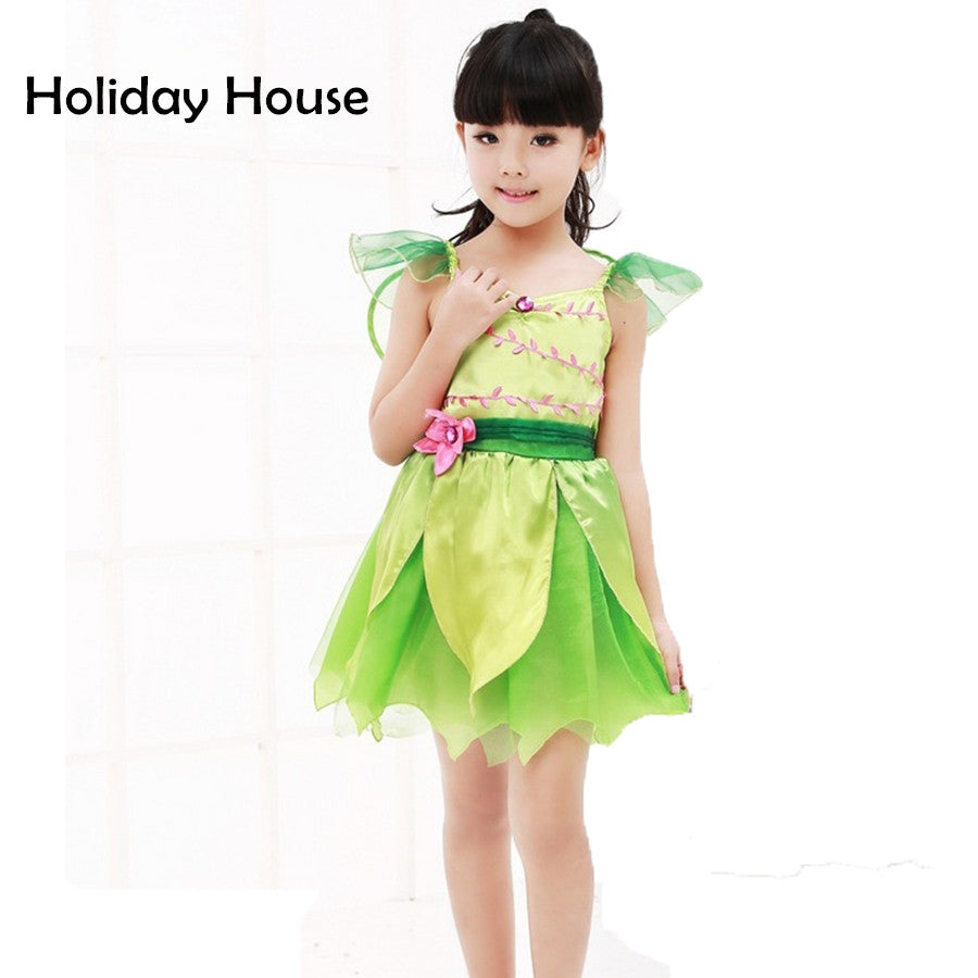 fc879680340 Cute Green elf Sprite Dress Neverland Tinkerbell Garden Fairy Kids Costume  Lovely Woodland Girl Little Fairy Costume Dress