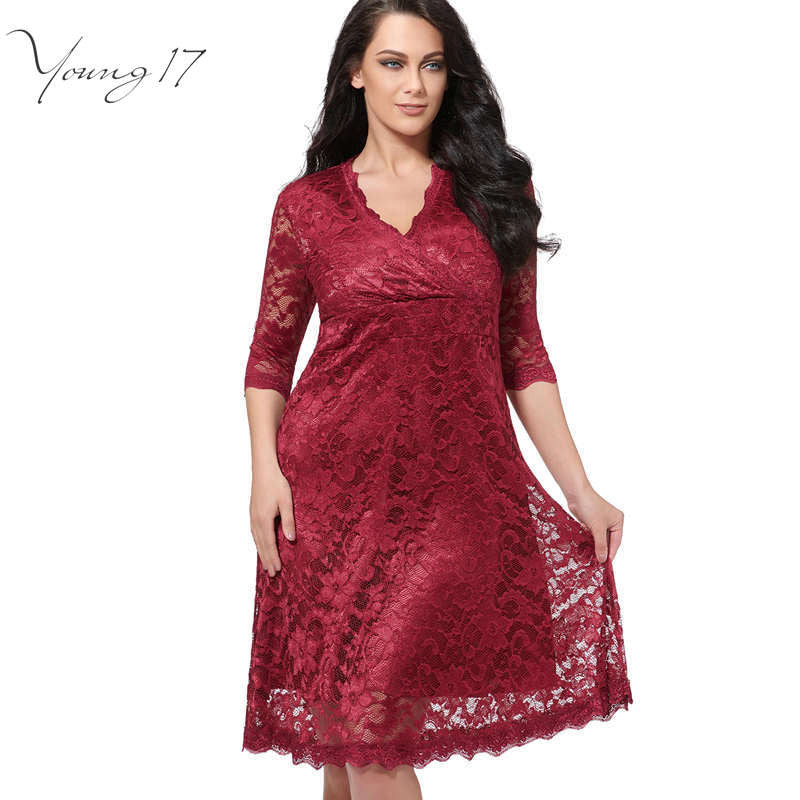1a7a8b6e633a Young17 Plus Size Lace Dress Women Sexy V-Neck Half Sleeve A-line Party  gown Knee-Length large size dress Plus Size Lace Dresses
