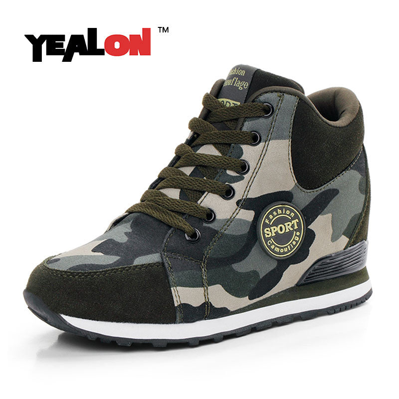 New outdoor Womens High Top Hidden Heel Wedge Lace Up casual Athletic Shoes