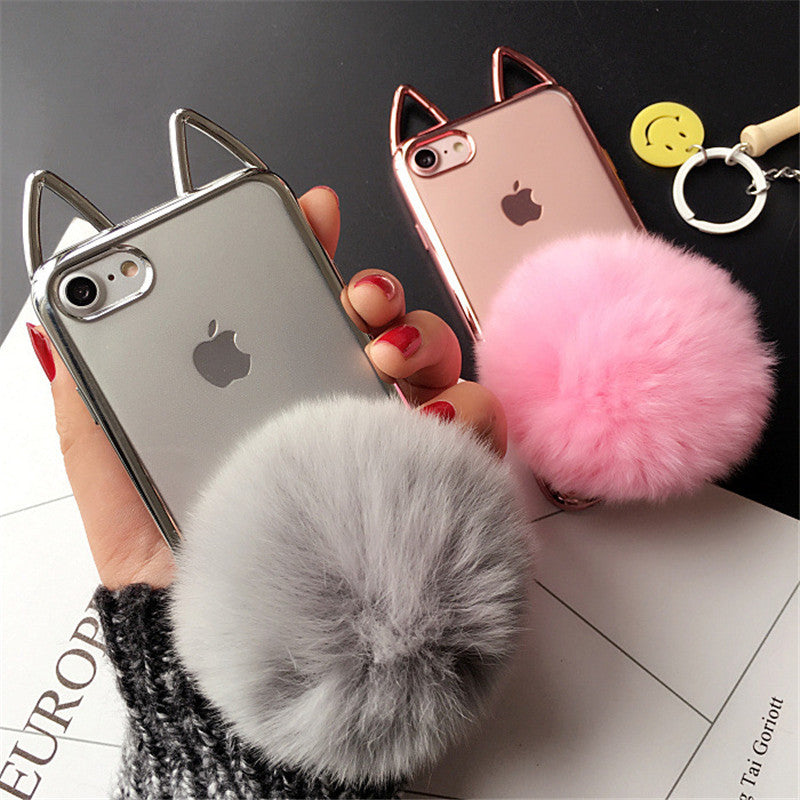 new styles 5e9ab 5cd8f Cute 3D Cat Ear Plating Cover For iPhone 7 Case Fluffy Ball Holder Soft TPU  Clear 7plus 6 6s plus Phone Cases Capa Fundas Coque