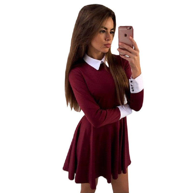 9a95d8c9b9d Women office dress Turn-Down Collar Casual Dresses Elegant Sexy short dress  Long Sleeve party dresses vestidos de fiesta LJ5631M