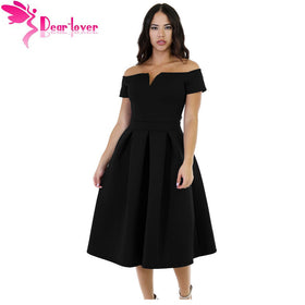 51ec672299 Dear Lover Sexy Off-the Shoulder A-line Party Dresses Solid Black Thick  Flare
