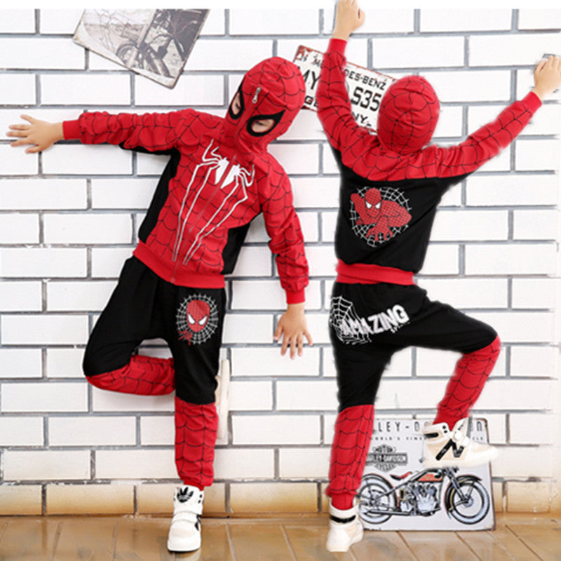 Comic Spiderman Costume Red Black Spider man Anime Cosplay Children Clothes Set Halloween Costume for Boys Kids jacket pants  sc 1 st  TakeSupply.com : red and black spiderman costume  - Germanpascual.Com