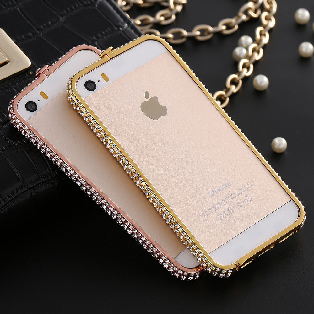 quality design 01b18 b1fb4 Luxury Diamond Bumper For Iphone 5S 5 SE Metal Rhinestone Diamond Frame  Back Cover Coque For Iphone 5 5S Luxury Shockproof Case