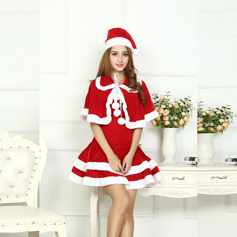 Sexy Adult Women Christmas Costume Halloween Party Sweetheart Miss Santa CosPlay  Dress+Doll Collar Cape + Christmas Hat 3pcs Set f26e5a51e06e
