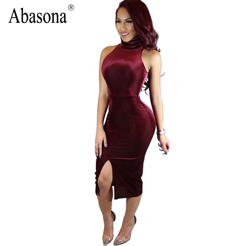 Summer 2017 Turtleneck Velvet Sexy Bodycon Bandage Dress Plus Size