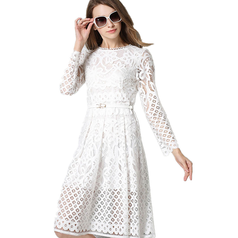 42a08499e5 Hot sale women elegant black/white lace dress summer spring hollow out high  quality full sleeve plus size Vintage party dress