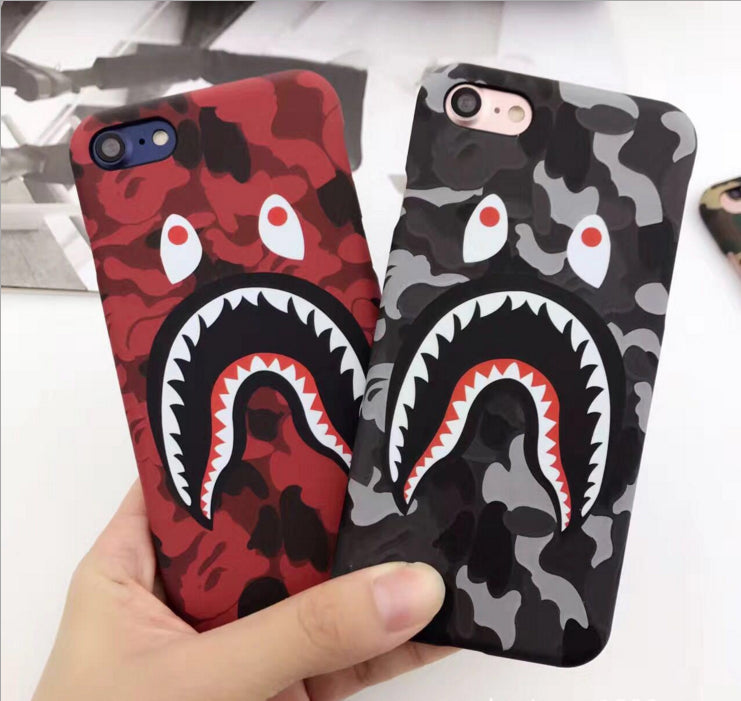 new products f0551 44166 Hot Top Quality Cool Fashion Bape Shark Case For iPhone 7 6 6s Plus Bape  Shark Army Phone Case Cover For iPhone 6 6s Hard Matte