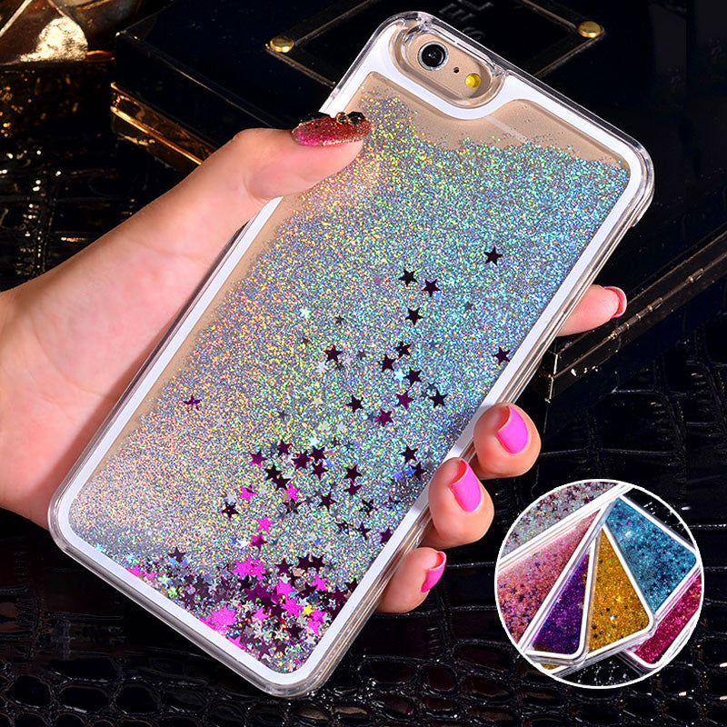 NEW Luxury Glitter Liquid Sand Quicksand Star Case for iphone 4 4S 5 5S SE  6 6S 7 Plus Transparent Clear Hard Cover a9126d35b