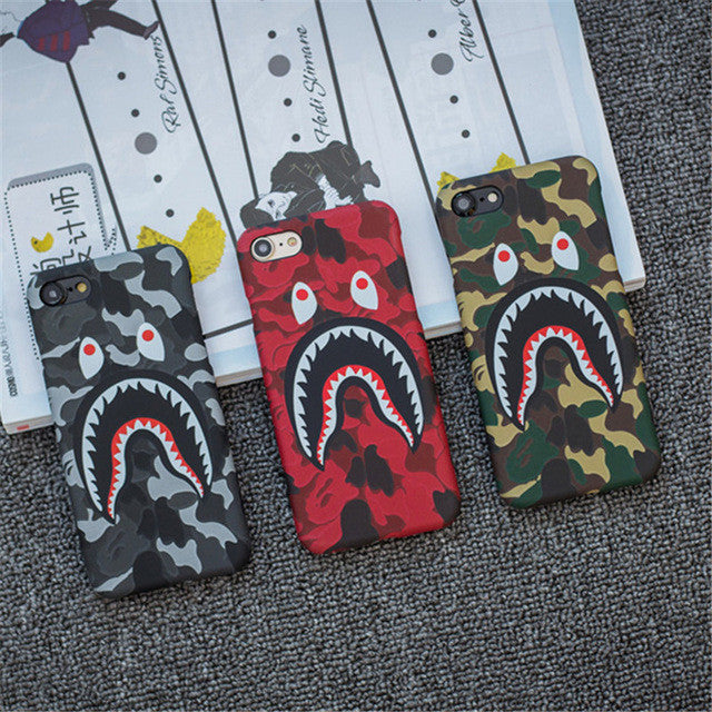 outlet store aab14 f7c9a Brand Camouflage Bape Shark Case For iphone 7 Plus Hard PC Back Phone Cases  Luminous Glow Cover For iphone 6 6S Plus Coque Fanda