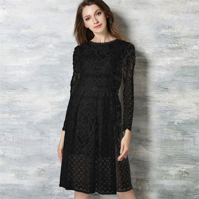85c006dc66bd7 Hot sale women elegant black/white lace dress summer spring hollow out high  quality full sleeve plus size Vintage party dress