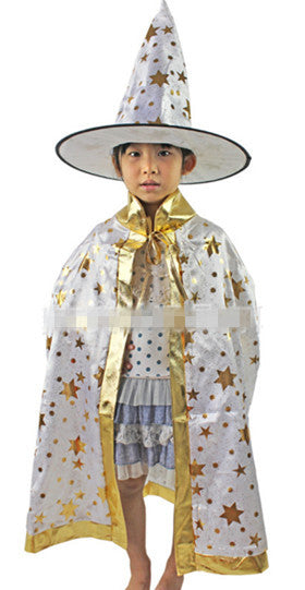 2e8a576c5c1 Boy Girl Kids Children Halloween Costumes Witch Wizard Cloak Gown Robe with  Hat Cap Stars Fancy dress up Cosplay Chirstmas