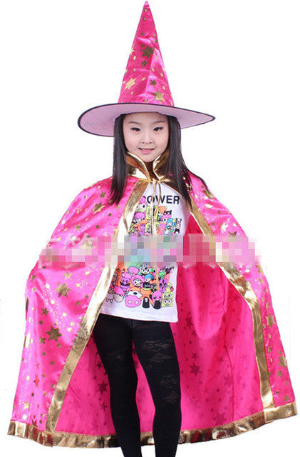 boy girl kids children halloween costumes witch wizard cloak gown robe with hat cap stars fancy dress up cosplay chirstmas