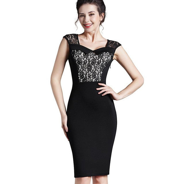 c911db5033c4 Nice-forever Lace Gorgeous Vintage Dress Patchwork Sexy Square Collar  Sleeveless Zipper Office wear Casual Pencil dress B291