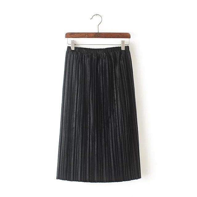 b19cbcf7018f7 Tangada Velvet Pleated Skirts Womens Female Winter Fashion 2017 High Waist  Straight Midi Skirt School Black Vintage Casual Jupe