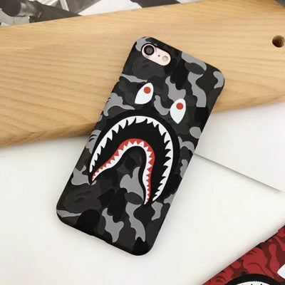 outlet store a4088 d91c6 Brand Camouflage Bape Shark Case For iphone 7 Plus Hard PC Back Phone Cases  Luminous Glow Cover For iphone 6 6S Plus Coque Fanda