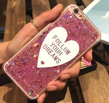 1f9bd8be82 Luxury Love heart pink Glitter case For Apple iphone 6 6s 6plus 7 7plus  bling Diamond Soft TPU silicone clear phone case cover