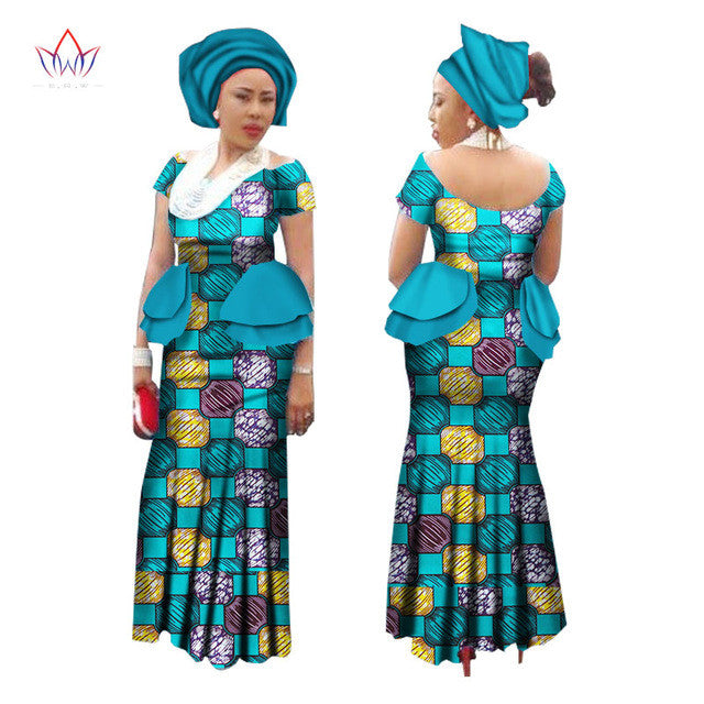 elegant and sturdy package great variety models double coupon New Summer Dress Women Short Sleeve Maxi Dress Trditional African Women  Dress with Head Scarf Bazin Riche African Dresses WY1377