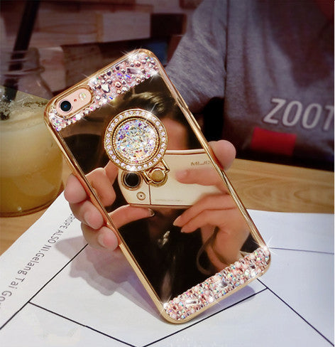 For iPhone 7 Case Luxury Girls Women Diamond Glitter Mirror Case With 360  Phone Ring Stand Soft Case For iPhone 7 6 6S Plus 5S 2eeb1ca1a