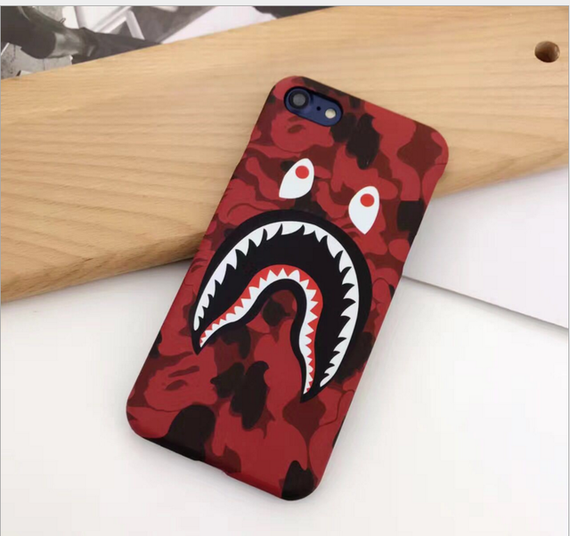 new products 5db15 feeb4 Hot Top Quality Cool Fashion Bape Shark Case For iPhone 7 6 6s Plus Bape  Shark Army Phone Case Cover For iPhone 6 6s Hard Matte