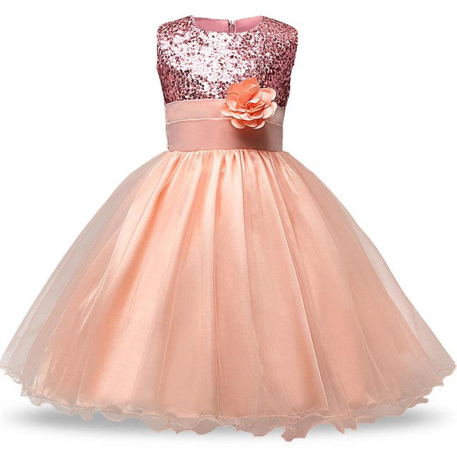 eb6d7ef3b2091 Red Flower Princess Wedding Dress Girl Sequin Tulle Dresses Children  Clothing Ball Gown Girls Clothes Kids Party Dresses Summer
