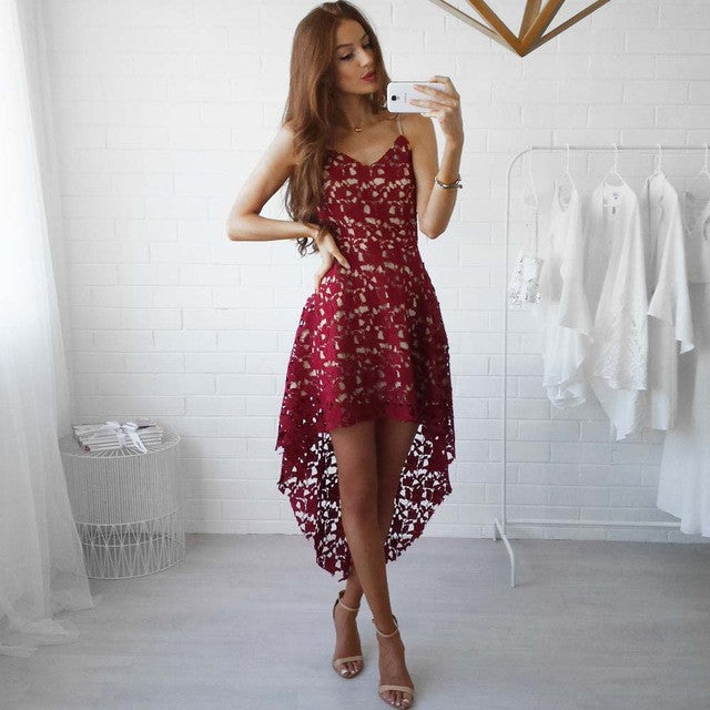a9bf4660d6424 YJSFG HOUSE 2017 Spring Summer Women Clothing Red White Lace Party Dresses  Sexy Sleeveless V-neck Hollow Out Boho Beach Dress