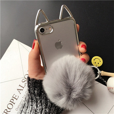 9f575f600b Cute 3D Cat Ear Plating Cover For iPhone 7 Case Fluffy Ball Holder Soft TPU  Clear 7plus 6 6s plus Phone Cases Capa Fundas Coque