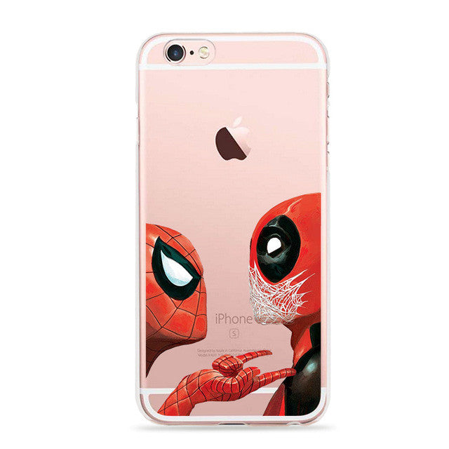 new arrival 72710 05525 Anime Marvel Soldier Deadpool Back Case For iPhone 6 6S Plus Case Marvel  Comics Superhero Silicone Phone Cover Fundas
