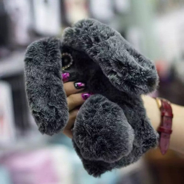 best service 676af 6690e Cute Rabbit Fur Ball Phone Case For iPhone 6 6s Plus 7 7 Plus Luxury Warm  Fluffy Bunny Hard PC Phone Cover For iphone 6s Case