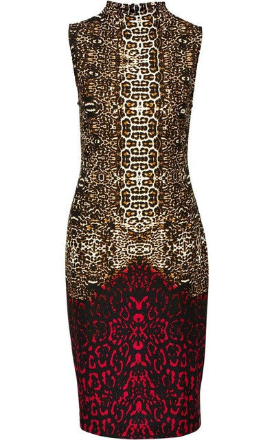 Sexy Leopard Summer Dress Women New Fashion Stand Collar Bodycon Dress  Women 2017 Sheath Pencil Party Dresses Red European Style e4552eafd